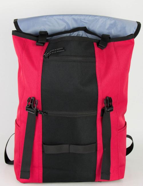 Ανδρικό κόκκινο υφασμάτινο Backpack με clips DR2076