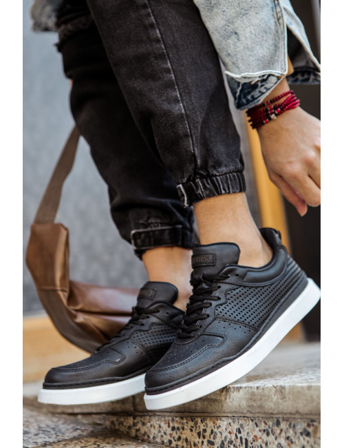 Ανδρικά μαύρα Casual Sneakers διάτρητα CH109T