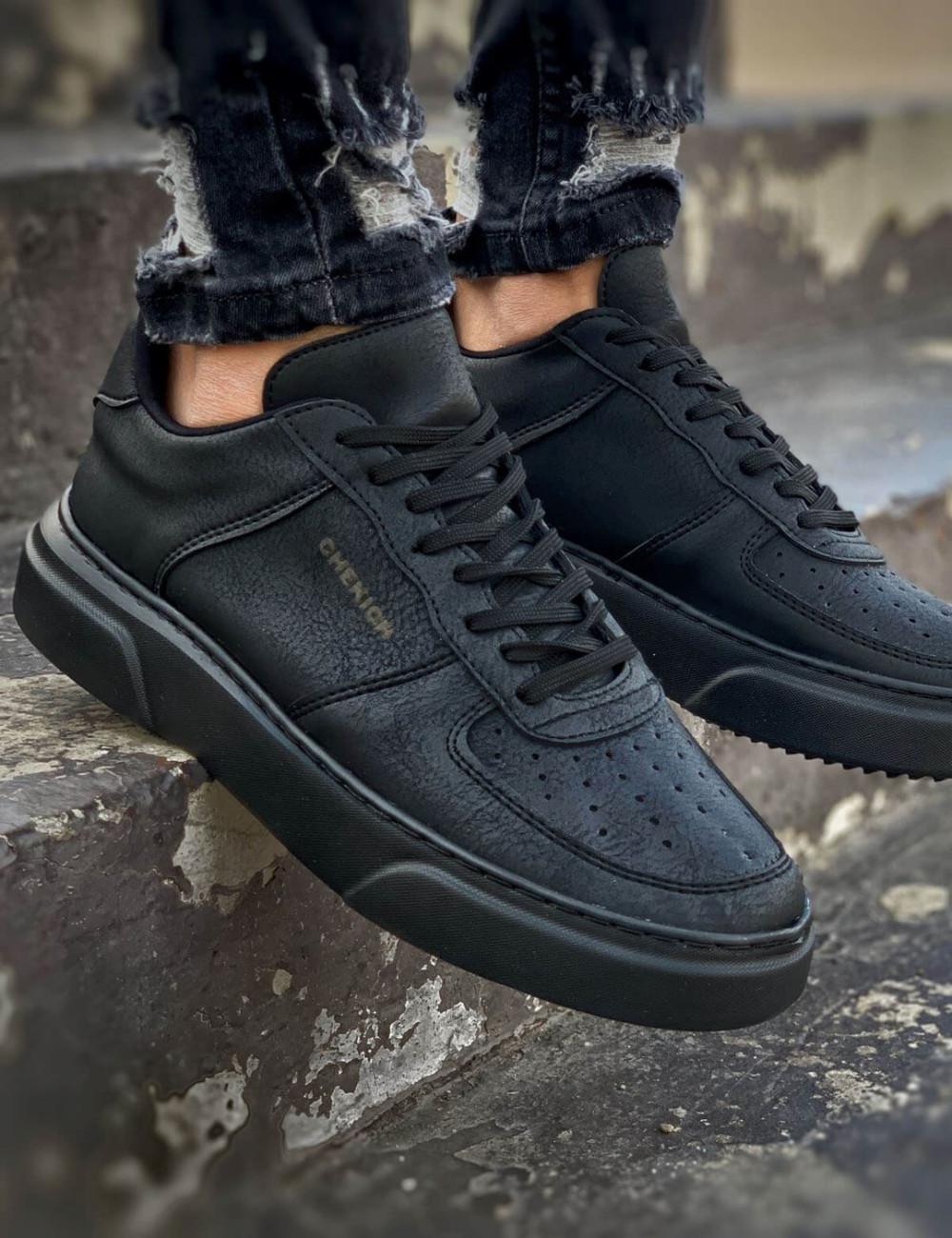 Ανδρικά μαύρα Sneakers δερματίνη CH087D