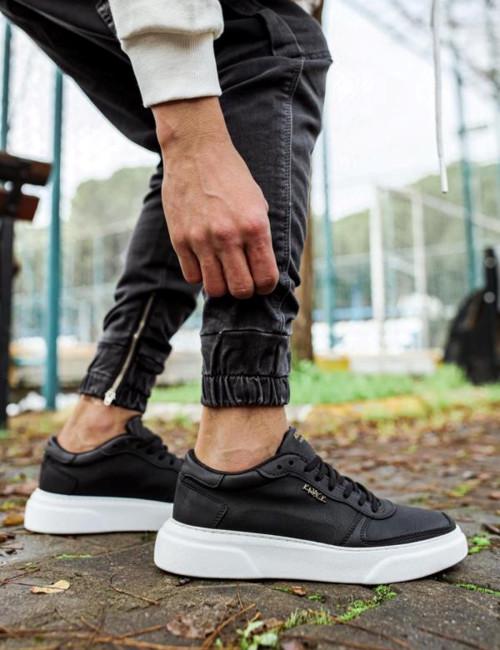 Ανδρικά Μαύρα Casual Sneakers δίσολα 2222020A
