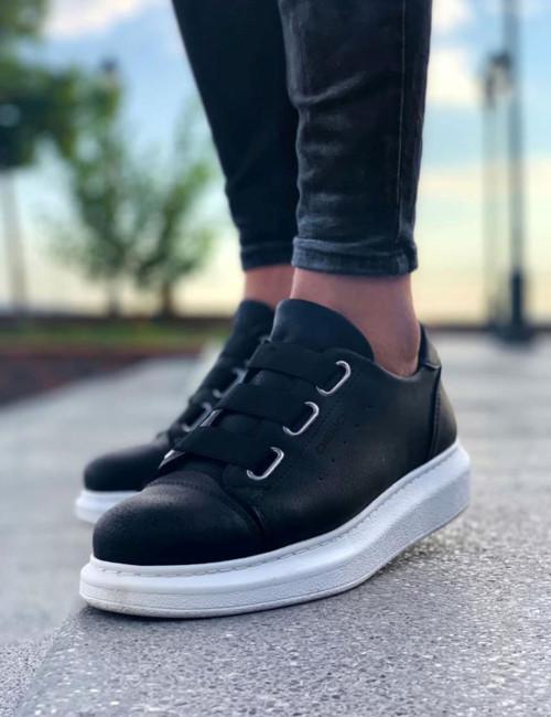 Ανδρικά ασπρόμαυρα Casual Sneakers δερματίνη CH253