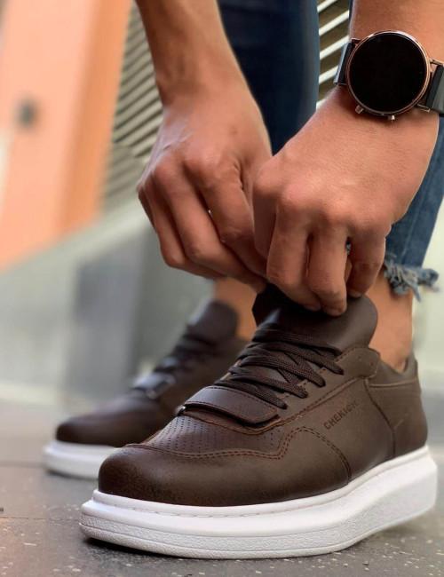 Ανδρικά καφέ Casual Sneakers δερματίνη με Scratch CH073K