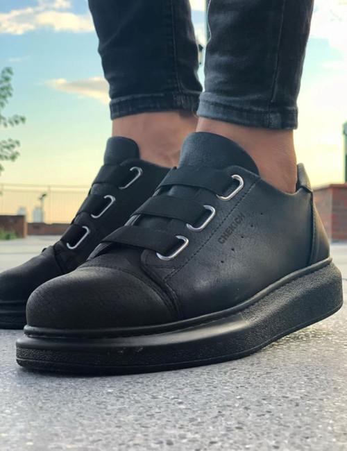 Ανδρικά μαύρα Casual Sneakers δερματίνη CH253S
