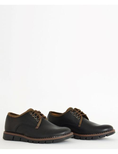 Ανδρικά δερμάτινα παπούτσια Nice Step μαύρα δετά 772