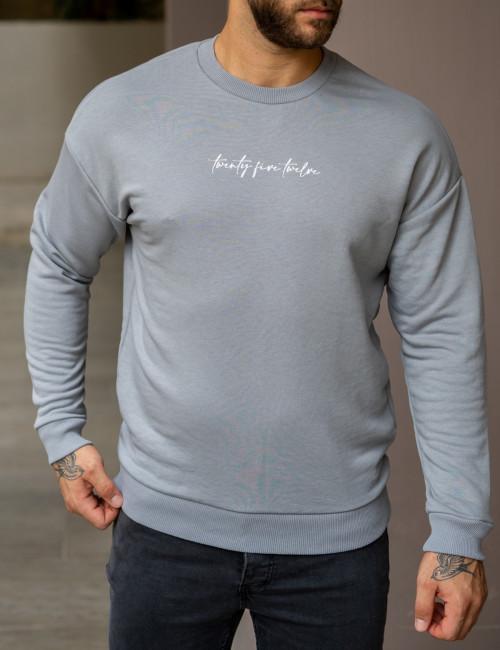 Ανδρικό γκρι oversized φούτερ με τύπωμα 22063G