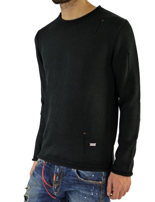 Darious μαύρη πλεκτή μακρυμάνικη μπλούζα 1676