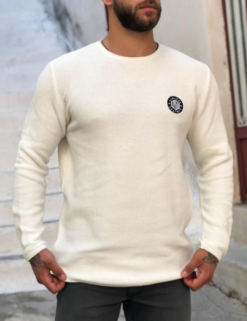 Ανδρικό εκρού πλεκτό πουλόβερ με διάτρητη πλέξη Limit 21 200230