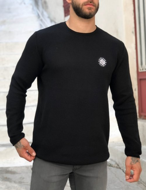 Ανδρικό μαύρο πλεκτό πουλόβερ με διάτρητη πλέξη Limit 21 200230M