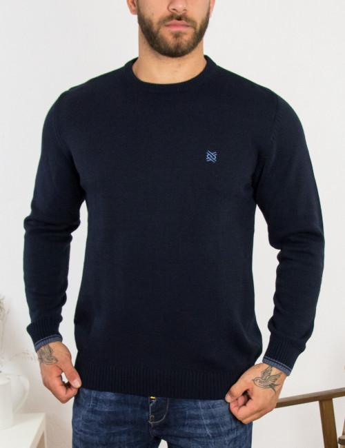 Ανδρικό μπλε πλεκτό πουλόβερ με διχρωμία Darious 18555K