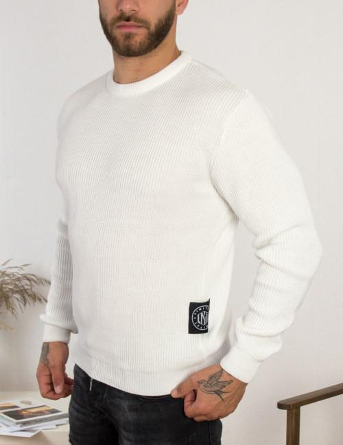Limit 21 ανδρικό λευκό πλεκτό πουλόβερ 203750X