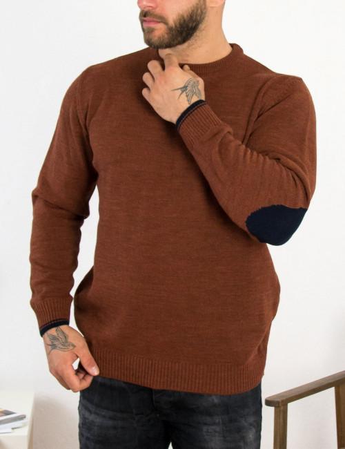 Ανδρικό κεραμιδί πλεκτό πουλόβερ με διχρωμία Darious 18555A