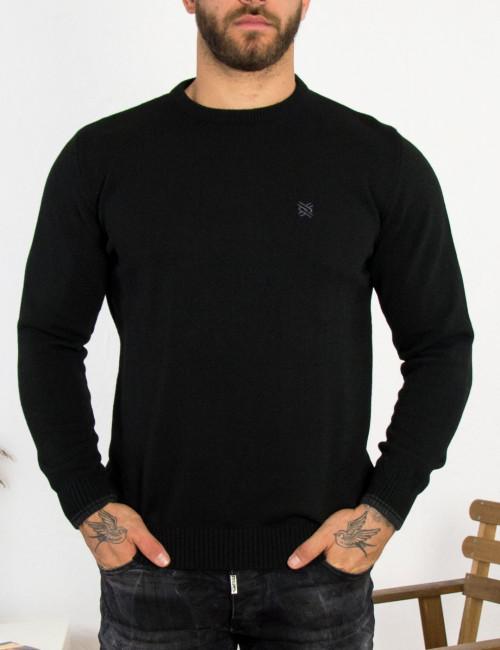 Ανδρικό μαύρο πλεκτό πουλόβερ με διχρωμία Darious 18555L
