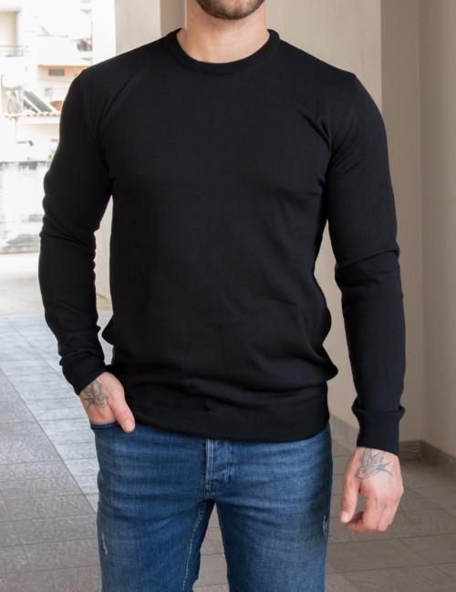 Limit 21 ανδρική μαύρη πλεκτή μακρυμάνικη μπλούζα 216621