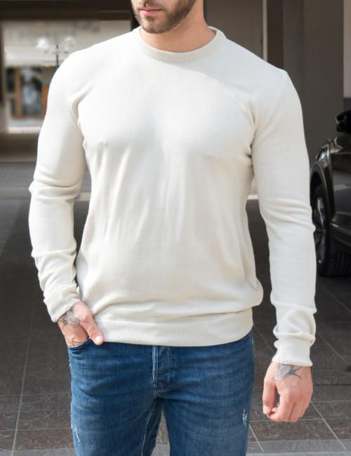 Limit 21 ανδρική μπέζ πλεκτή μακρυμάνικη μπλούζα 216621B