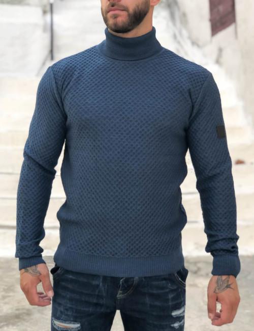 Limit 21 ανδρικό μπλε μονόχρωμο πουλόβερ ζιβάγκο 2030