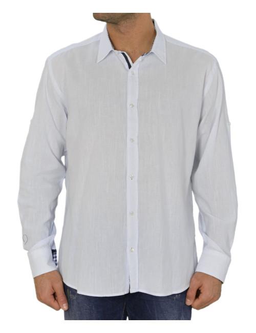 Ανδρικό πουκάμισο Λευκό Βαμβακολινό 89456