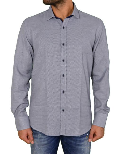 Ανδρικό πουκάμισο μπλε με μικροσχέδια 1183102