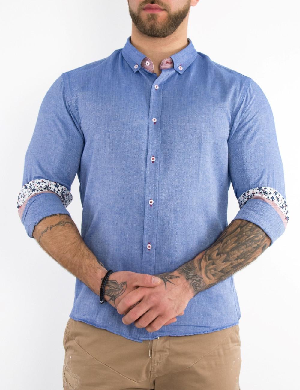 Ανδρικό μπλε πουκάμισο με διχρωμία Slim Fit 20048