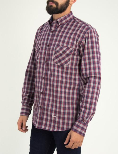 Ανδρικό κόκκινο καρό πουκάμισο με τσεπάκια Ben Tailor 0091