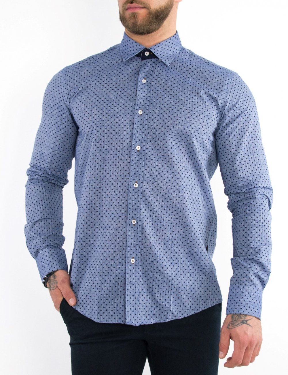 Ανδρικό μπλε πουκάμισο βαμβακερό Regular Fit 20140