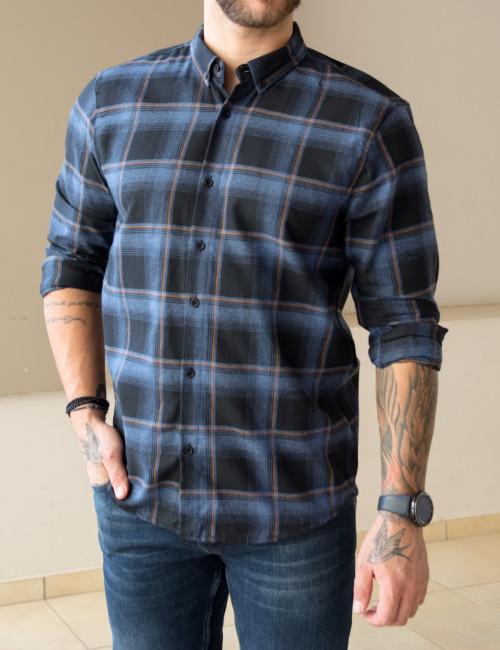 Ανδρικό μπλε καρό πουκάμισο με κουμπιά 18280S