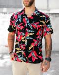Ανδρικό μαύρο φλοράλ κοντομάνικο πουκάμισο 202149