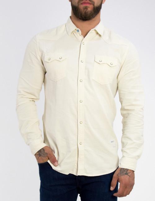 Ανδρικό εκρού κοτλέ πουκάμισο με τσεπάκια 56205