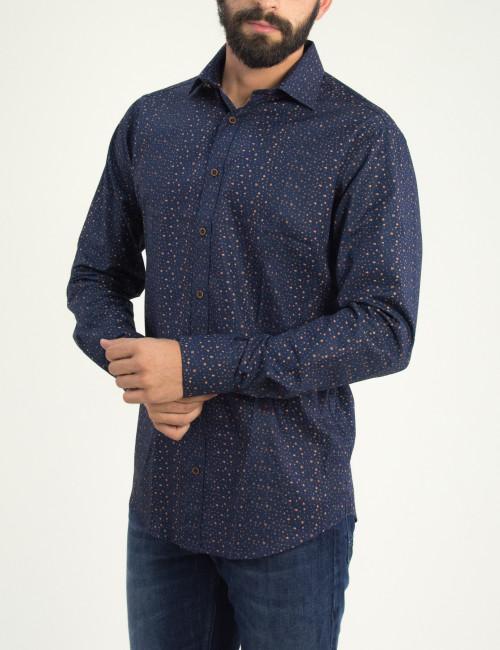Ανδρικό μπλέ σκούρο εμπριμέ πουκάμισο GioS 9534W18