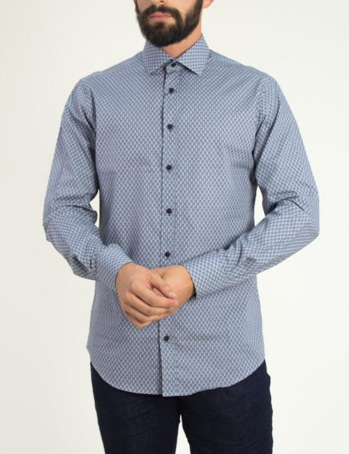 Ανδρικό λευκό πουκάμισο με μικροσχέδιο GioS 9507W18