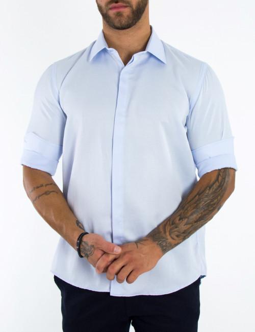 Ανδρικό γαλάζιο μονόχρωμο πουκάμισο Regular Fit 8235B