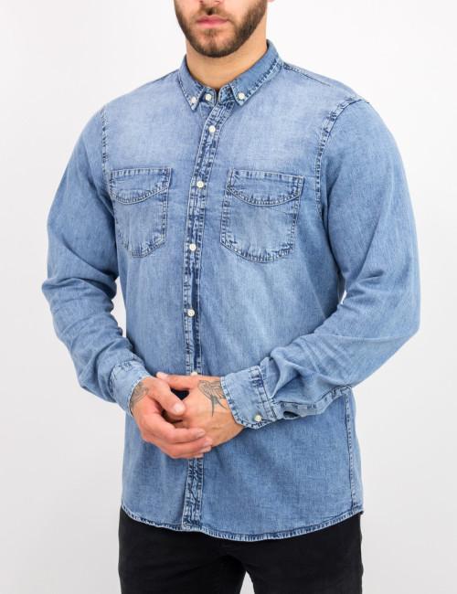 Ανδρικό μπλε χλώριο τζιν πουκάμισο με κουμπιά 18276