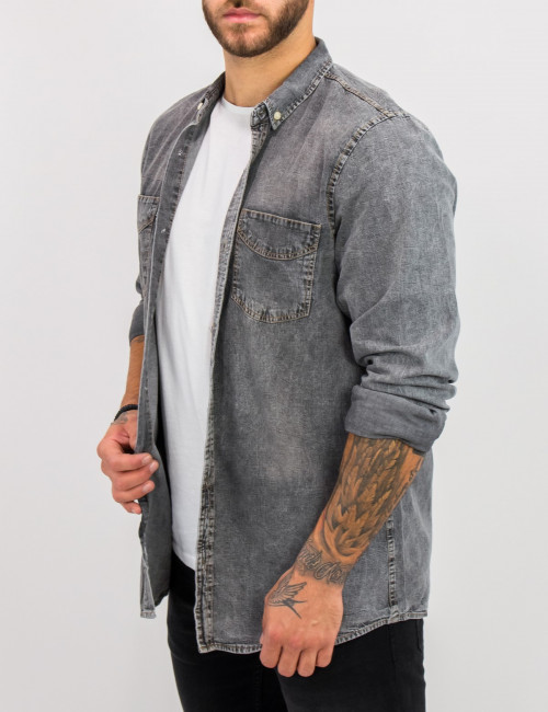 Ανδρικό γκρι τζιν πουκάμισο με κουμπιά 18276G