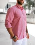 Ανδρικό κόκκινο πτι καρό πουκάμισο Plus Size 313029A
