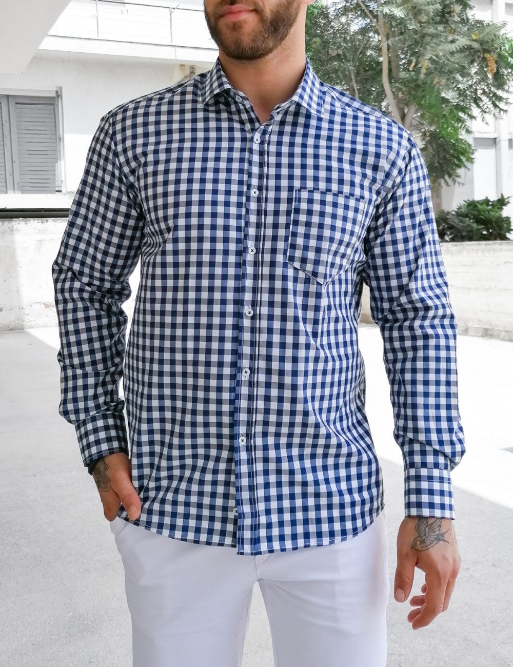 Ανδρικό μπλε καρό πουκάμισο Plus Size 313030