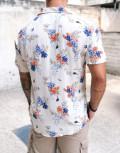 Ανδρικό μπεζ φλοράλ κοντομάνικο πουκάμισο 202159