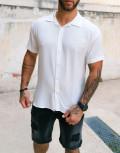 Ανδρικό λευκό κοντομάνικο πουκάμισο 202157