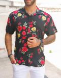 Ανδρικό μαύρο φλοράλ κοντομάνικο πουκάμισο 202152