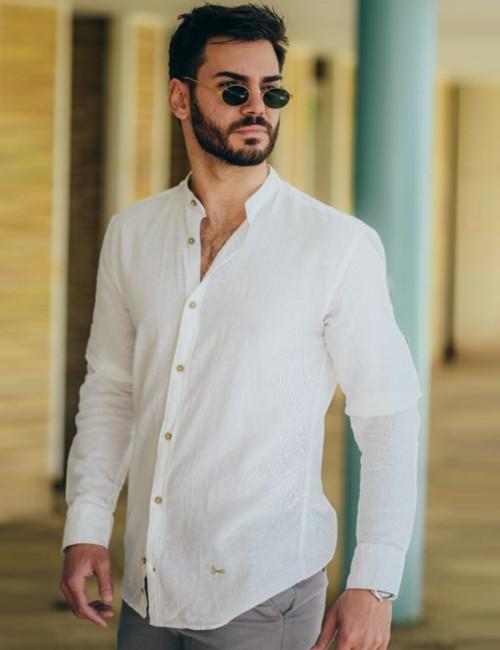 Ανδρικό λευκό λινό πουκάμισο Mango Ben Tailor 1196W
