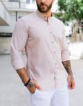 Ανδρικό μπεζ λινό πουκάμισο με μάο γιακά 313024J
