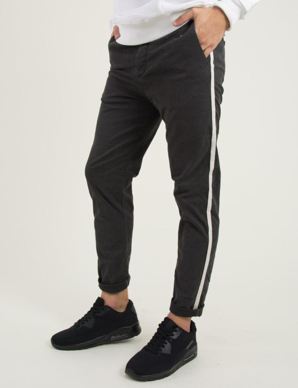 Ανδρικό γκρι υφασμάτινο παντελόνι πλαϊνή ρίγα 8056