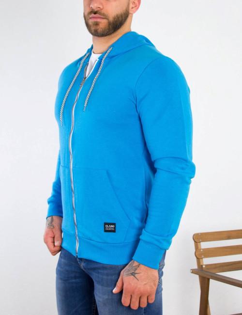 Ανδρική μπλε βαμβακερή ζακέτα με κουκούλα 5402T
