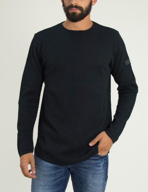 Ανδρική μαύρη πλεκτή μακρυμάνικη μπλούζα μονόχρωμη Darius 1805