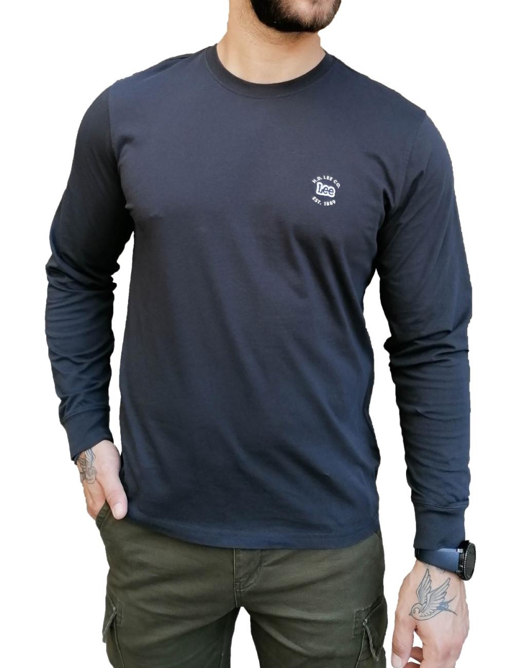 Lee LS Patch Logo Tee ανδρικό ανθρακί μακρυμάνικο μπλουζάκι L60RFQON