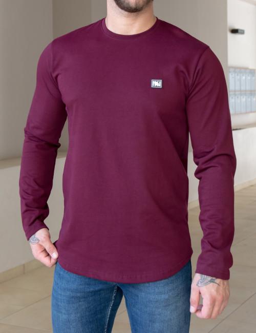 NDC ανδρική μπορντό μακρυμάνικη μπλούζα 221137B