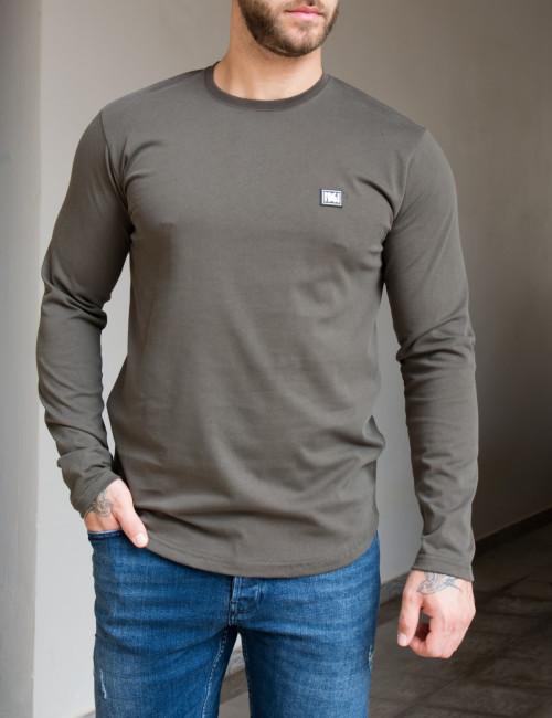NDC ανδρική χακί μακρυμάνικη μπλούζα 221137K