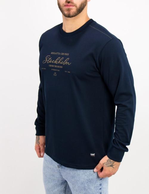 Everbest ανδρική μπλε μακρυμάνικη μπλούζα τύπωμα Plus Size 221029W
