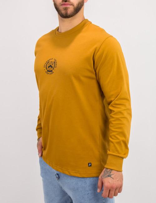 Everbest ανδρική ώχρα μακρυμάνικη μπλούζα τύπωμα Plus Size 221027Q
