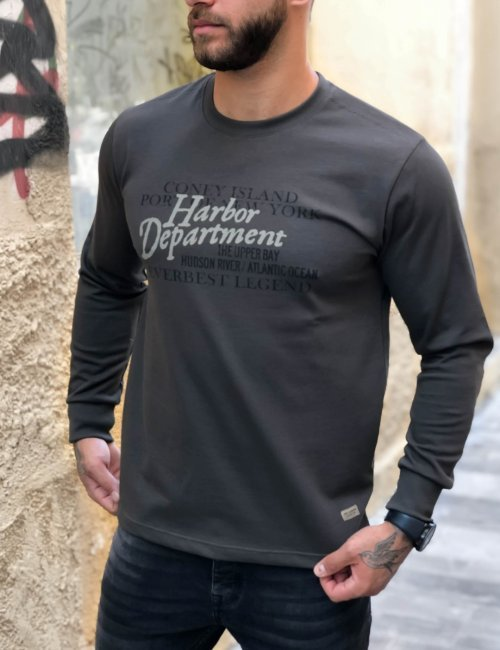 Ανδρική λαδί βαμβακερή Plus size μπλούζα Everbest 211028