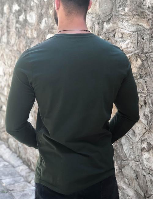 Ανδρική χακί μακρυμάνικη μπλούζα με τύπωμα Free Wave 22102