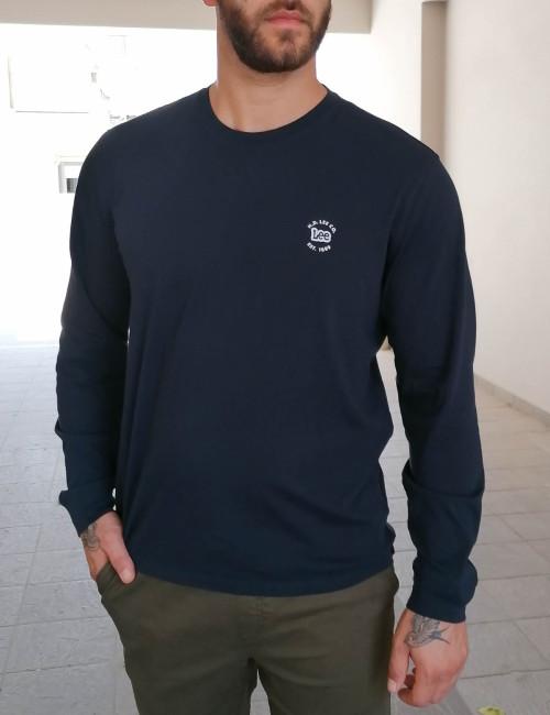 Lee LS Patch Logo Tee ανδρικό μπλε μακρυμάνικο μπλουζάκι L60RFQ35